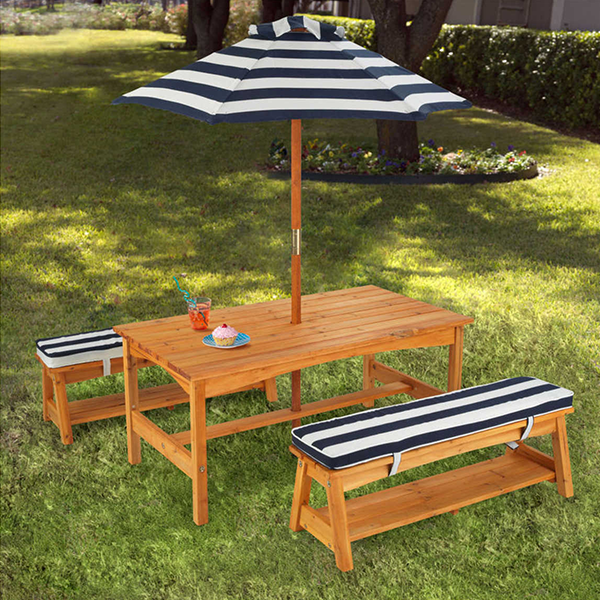 Blue and White KidKraft Outdoor Table & Bench Set with Cushions & Umbrella