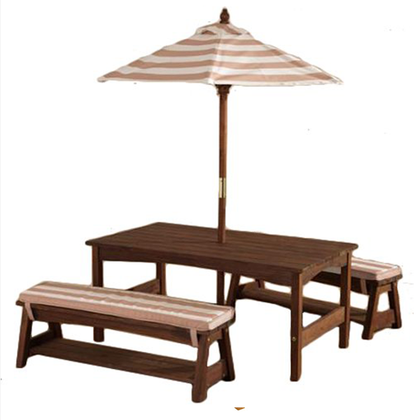 Oatmeal And White KidKraft Outdoor Table And Bench Set With Cushions U0026  Umbrella