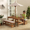 Oatmeal and White KidKraft Outdoor Table and Bench Set with Cushions & Umbrella