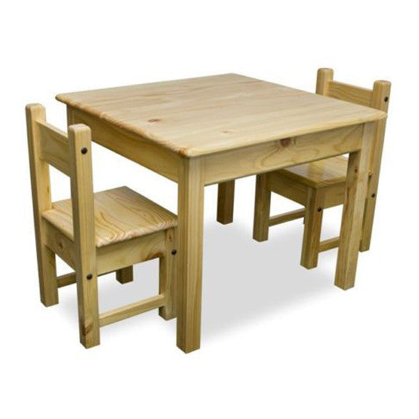 Kids square timber table and chairs