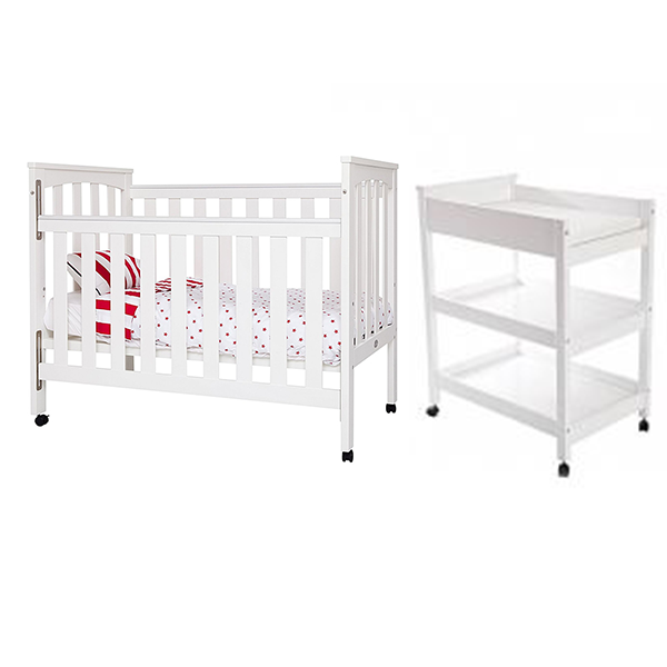 Sunbury Tiburon White Cot with Change table set and Mattress - PBC Special