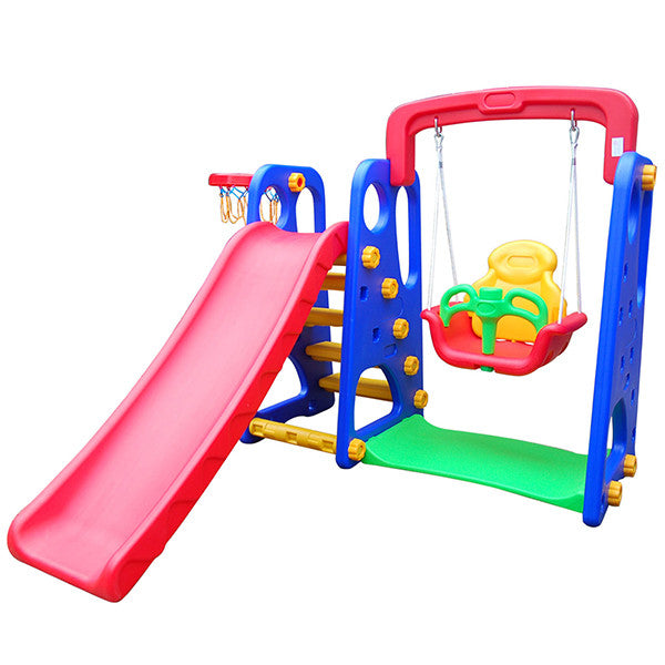 Kids Indoor Outdoor Kids Slide Swing Basketball Set
