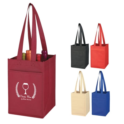 Promotional wine totes personalized with a custom imprint or logo.
