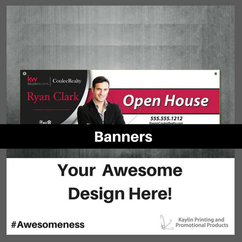 Banners personalized with your custom imprint or logo.