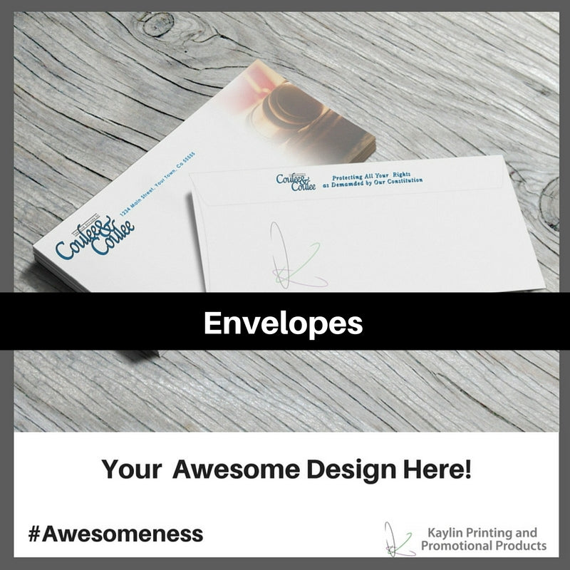 Envelopes personalized with your custom imprint or logo.