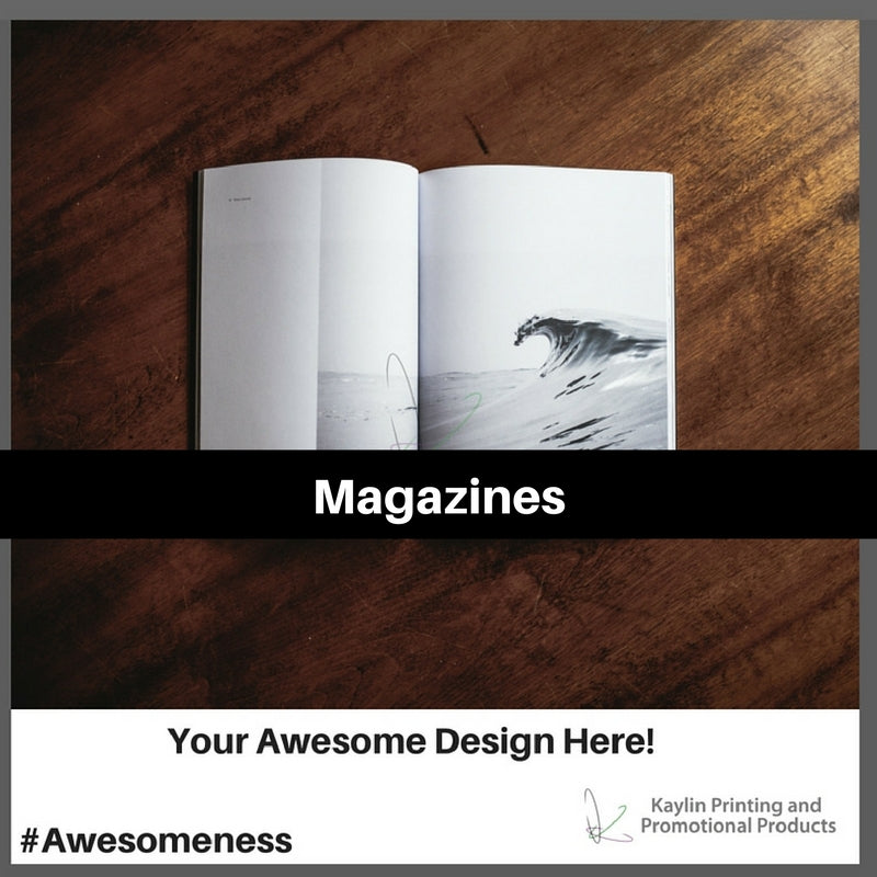 Magazines printed and personalized with your custom imprint or logo.
