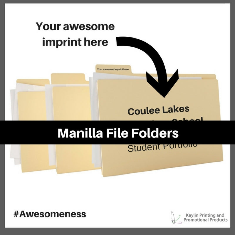 Manilla File Folders printed and personalized with your custom imprint or logo.