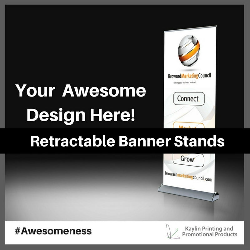Retractable Banner Stands personalized with your custom imprint or logo.