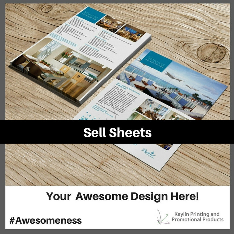 Sell Sheets Sale Sheets printed and personalized with your custom imprint or logo.