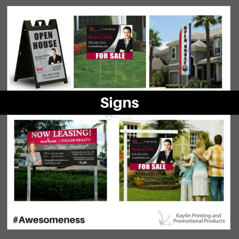 Signs personalized with your custom imprint or logo.