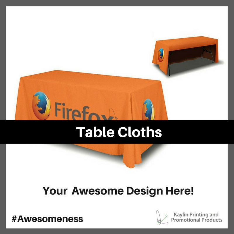 Table Cloths personalized with your custom imprint or logo.