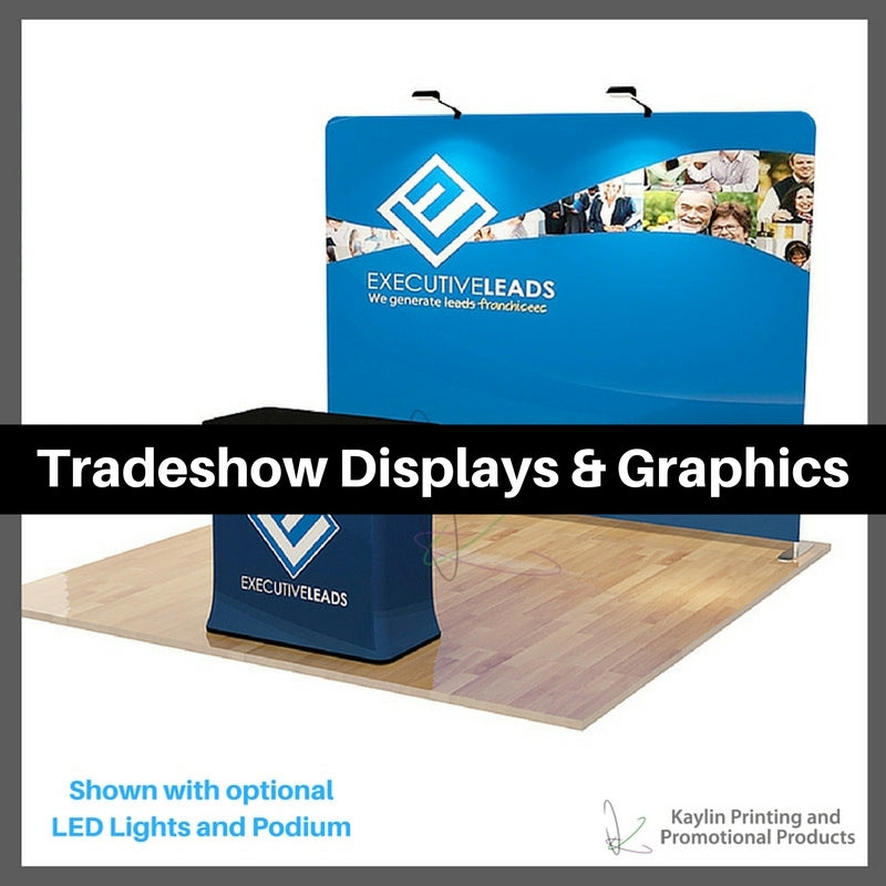 Tradeshow Displays and Graphics personalized with your custom imprint or logo.