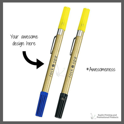 BCN-H3711-001 Drimark Double Exposure Highlighter & Ballpoint Pen Combo personalized with your custom imprint or logo.