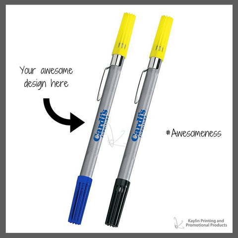 BCN-H3811-001 Drimark Double Exposure Highlighter & Ballpoint Pen Combo personalized with your custom imprint or logo.