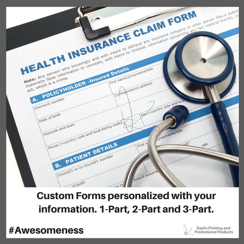 Custom Forms personalized with your information. 1-Part, 2-Part and 3-Part.