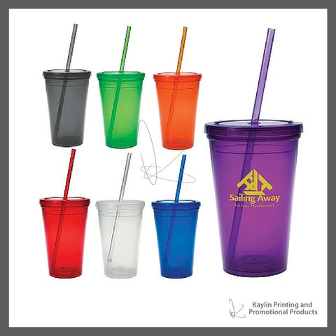 HPP-5870-001 16 Oz. Economy Double Wall Tumbler drinkware personalized with a custom imprint or logo