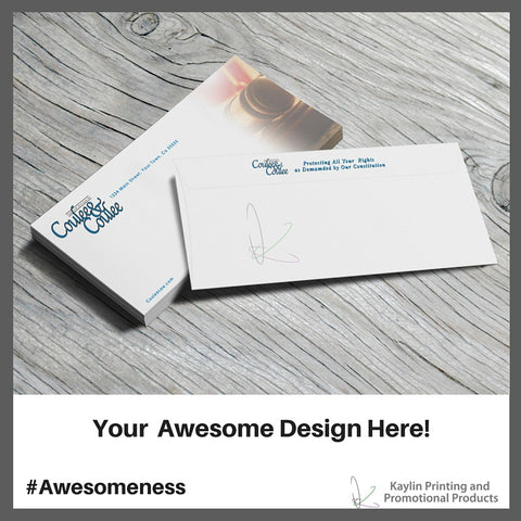 KP-ENV-10-NW Custom printed full color regular #10 envelopes personalized with your custom imprint or logo