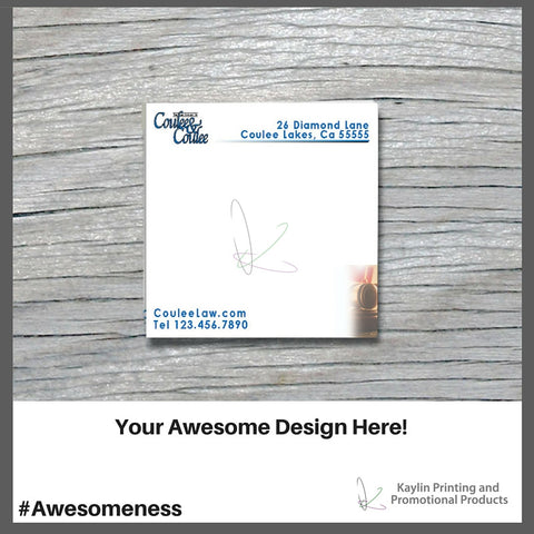 "KPP-SN-001 Bic Adhesive notepads | Sticky Notes personalized with your custom imprint or logo. 3"" x 3"" 3x3"
