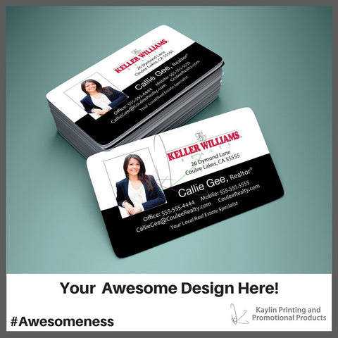 KYN-001 Business Cards with Rounded Corners. Printed full color with your custom imprint or logo. Perfect for Real Estate, Legal, Dental or any type of business professional.