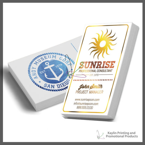 KYN-001 Colored Foil Business cards, personalized with your custom imprint or logo.