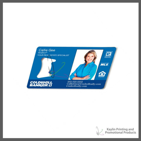 KYN-001 Metal Business Card with Bottle Opener, personalized with your custom imprint or logo.