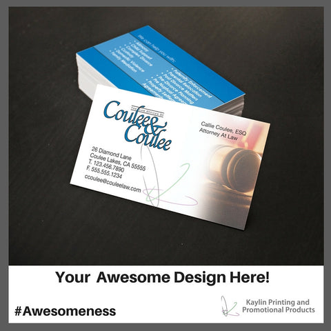 KYN-BC-001 Custom printed full color silk business cards personalized with your custom imprint or logo