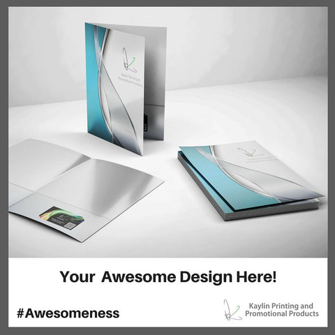 KYN-FOLDER-001 Custom printed full color presentation folders with pockets personalized with your custom imprint or logo