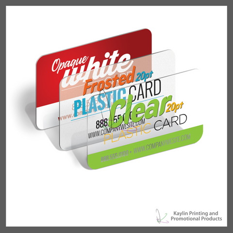 KYN-PC-001 Plastic Cards - clear - white opaque - frosted - personalized with your custom imprint or logo.