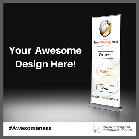 KYN-PRERET-001 PREMIUM Full Color Retractable Banner Stand personalized with your custom imprint or logo