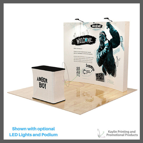 KYN-TSD-001 Trade Show Display with 10 foot curve shape and vibrant graphics printed on fabric. Velcro attached. Personalized with your custom imprint or logo. Shown with optional LED Lights a