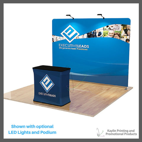 KYN-TSD-001 Tradeshow Display with 10 foot straight shape and vibrant graphics printed on fabric. Personalized with your custom imprint or logo. Shown with optional LED Lights and Podium.