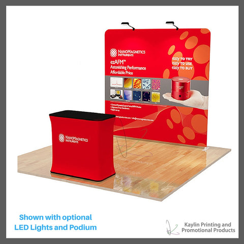 KYN-TSD-001 Tradeshow Display with 8 foot straight shape and vibrant graphics printed on fabric. Personalized with your custom imprint or logo. Shown with optional LED Lights and Podium.