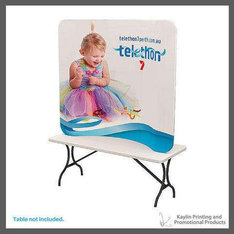 KYN-TTD-001 Tabletop Trade Show Display with curve shape and vibrant graphics printed on fabric. Personalized with your custom imprint or logo.