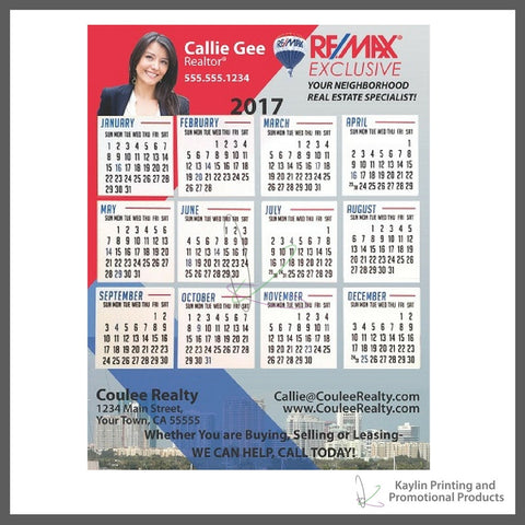 Calendars for Real Estate -Business Magnet strip - 8.5x11 personalized with your custom imprint or logo.