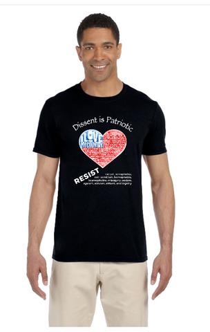 Dissent is Patriotric Distressed American Heart Flag T-Shirts
