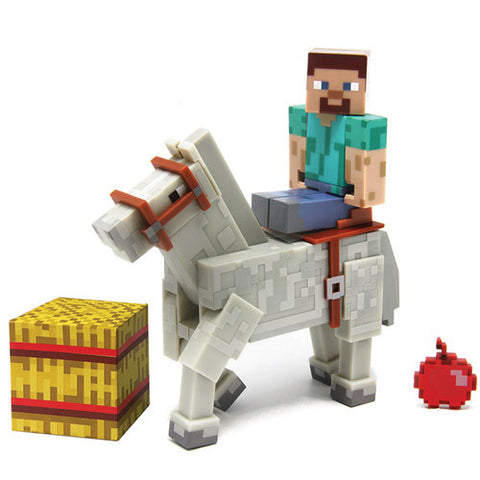 Minecraft Steve W White Horse 2 Pack