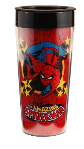 Vandor 26051 Spider Man Plastic Travel Mug, Multicolored, 16-Ounce