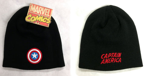 Captain America Shield 3D Logo Beanie Black