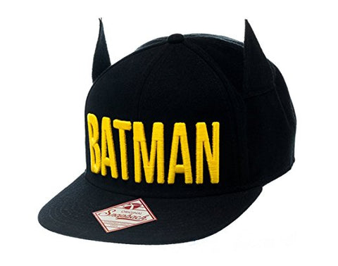Batman text Logo With 3D Ear Snapback Cap – Geek Nation b871338624b