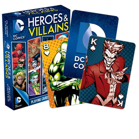 DC Comics Heroes & Villains Set of 52 Playing Cards Jokers