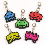 Key Chain Space Invader Alien Zipper Pulls Set of 5  Pack
