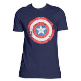 Civil War-Captain America Shield Distressed T-Shirt