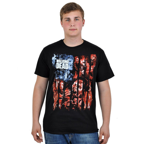 The Walking Dead Walkers Flag Montage T-Shirt Black