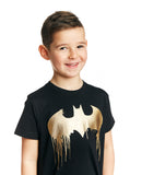 Batman Dripping Gold Foil Logo Kids T-Shirt