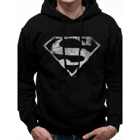 Superman Mono Distressed Logo Hooded Hoodie