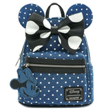 Loungefly Minnie Mouse Denim Polka Dot Mini Backpack (Preorder)
