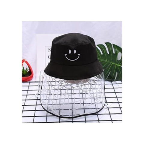 Kids/Youth Hat with Face Shield Smile Black (56 Size)