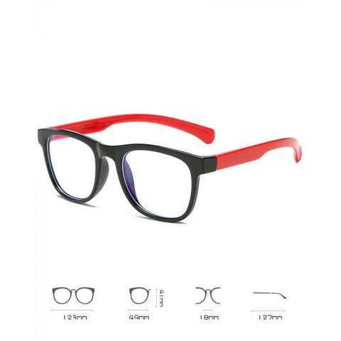 Kids Flexible Blue Light Blocking Glasses Black & Red