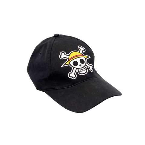 One Piece Straw Hat Cap Black