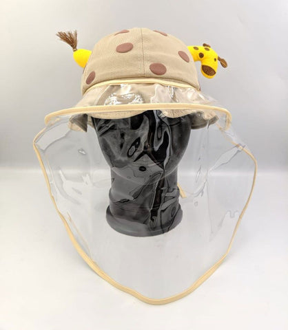 Kids Hat with Face Shield Giraffe Rosy Brown (52 Size)